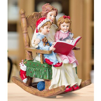 Rocking Chair A Family Art Sculpture Art Mother and Children Figurine Creative Resin Crafts Home Decoration Christmas Gift R4883