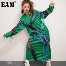 [EAM] Women Green Perspecitve Bandage Big Size Dress New Round Neck Long Sleeve Loose Fit Fashion Tide Spring Autumn 2019 JO3420(China)