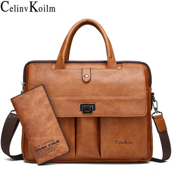 Celinv Koilm Man Briefcase Big Size 14 Inches Laptop Bags Business Travel Handbag Office Business Male Bag For A4 Files Tote Bag