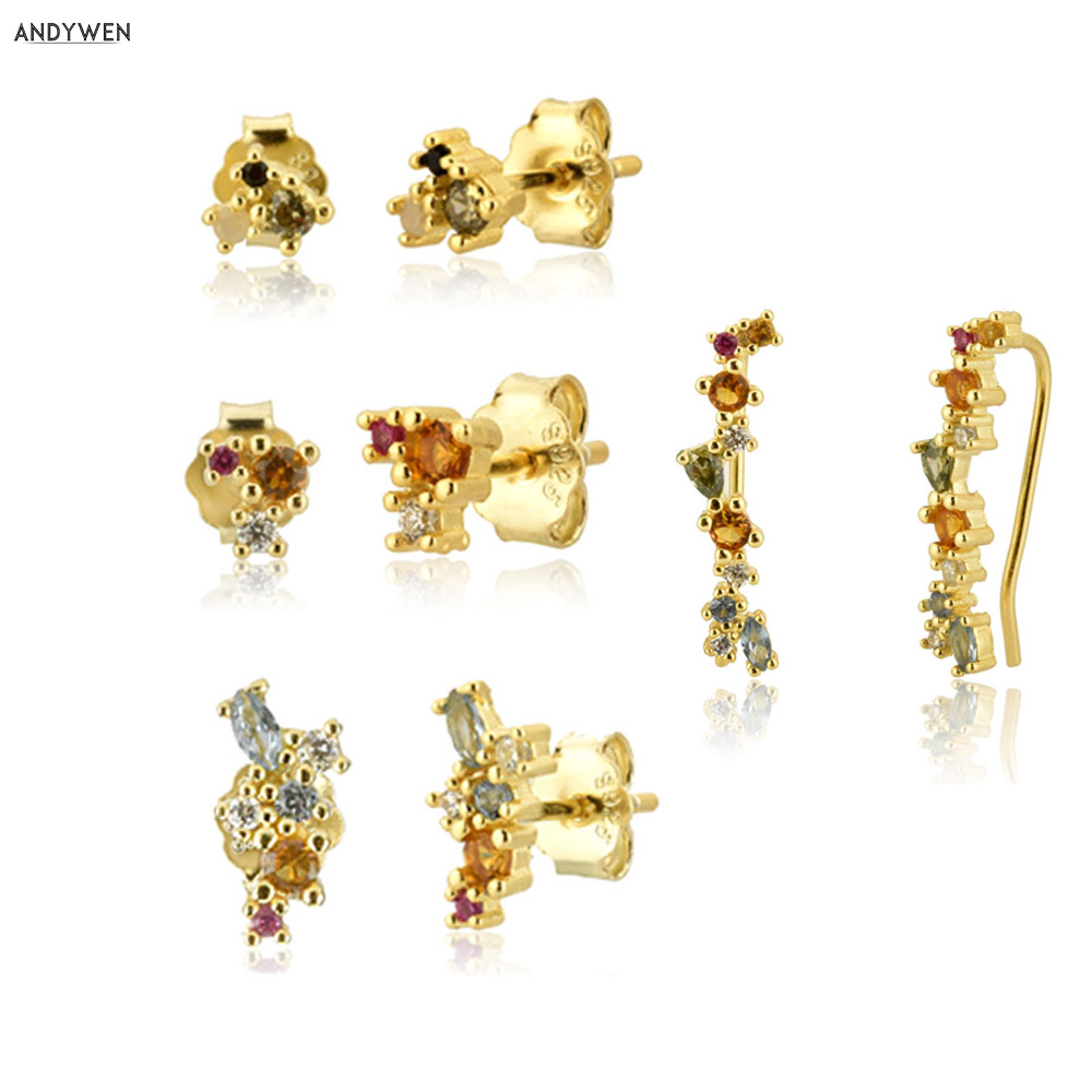 ANDYWEN 100% 925 Sterling Silver Mini Stud Earring Colorful Rainbow CZ Zircon Round Climber Fine Jewelry 2020 New Luxury