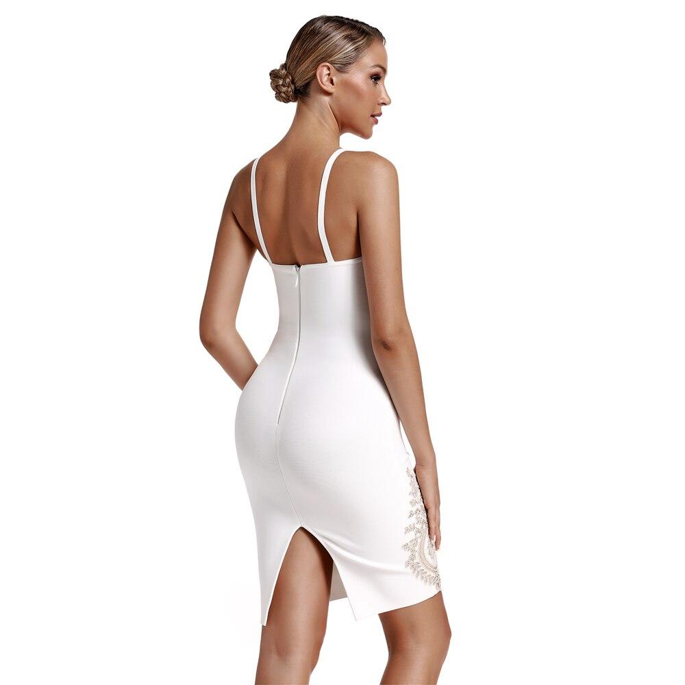 本日の割引 Health 春夏新到着刺繍女性白包帯ドレスボディコンパーティードレス IOW