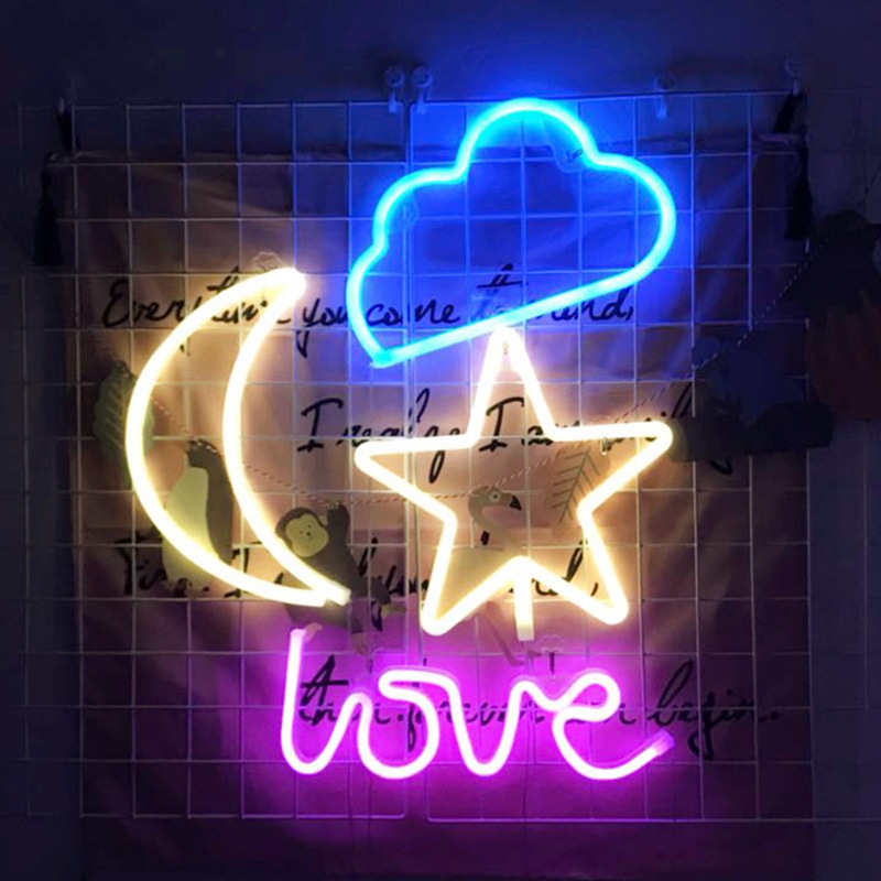 Creative Led Neon Light Colorful Rainbow Stars Moon Neon Sign for Room Home Party Wedding Decoration Xmas Gift Neon Lamp Neon Bulbs & Tubes  - AliExpress