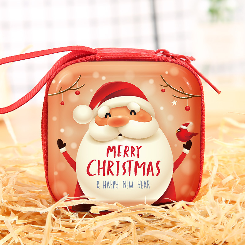 Christmas gifts children's toys Multi-function Tinplate Coin Purses Round Earphone Key Storage Bag Mini Zip Wallet 7*3.5CM