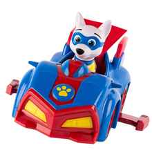 Paw Patrol toy car Apollo superman dog Patrulla Canina action characters anime cartoon paw patrol model children PVC Christmas paw patrol four generations of upgraded pvc material snow dog beads bevel off road small grams of deformable catapult toy childr