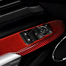 цена на Carbon Fiber Window Control Panel Frame Cover Trim for Ford Mustang 2015-2019 Interior Decoration Car Accessories Decal Sticker