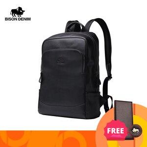 Image 1 - BISON DENIM Genuine Leather Men Backpacks Male Zipper Designer 15 inches School Backpack Mens Travel Cowhide Backpack N2757