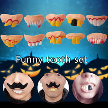 10 Pcs Hässliche Gefälschte Zähne 1519 Halloween eve Kostüm Party Lustige Gag Geschenk Dropshipping 15 Herramienta de disfraces de Halloween(China)
