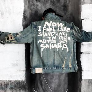 Image 2 - Джинсовая куртка модная трендовая Мужская куртка джинсовая куртка мужская одежда с принтом рваная одежда хлопковая джинсовая куртка S XL