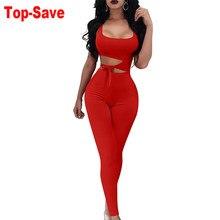 Kombinezony damskie Casual solidna Bodycon Romper Backless kombinezon body długie spodnie Sexy bez rękawów Night Club sznurowane odzież