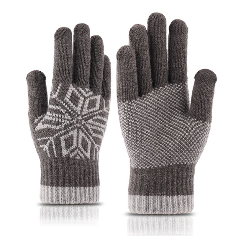 Mens Winter Touchscreen Thickened Knit Gloves Warm Lining Elastic Cuff Snowflake Jacquard Outdoor Texting Full Finger Mittens