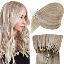 VeSunny Straight Remy Micro Link Hair Extensions Human Hair 50 Gram 50 Strands Cold Fusion Micro Beads Human Hair Extensions