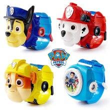 Figuras de acción de la patrulla Canina para niños, relojes de juguete, reloj de proyección, correa de cuero