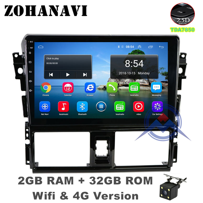 ZOHANAVI Android 9.0 2.5D Car multimeida player for Toyota Vios Yaris 2013 2014 2015 2016 radio DVD GPS Navigation stereo