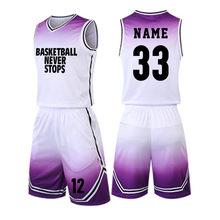 Basketball Uniforms Sport Kit Men Basketball Jerseys Suit College Boys Basketball Shirt Shorts Set Breathable Quick Dry