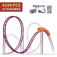 Gemotoriseerde Motor Power Roller Coaster Technic Set 18003 Cijfers Buidling Blokken Bakstenen 1125 Kinderen Verjaardag Kerstcadeaus Speelgoed