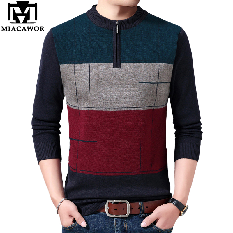 MIACAWOR Winter Sweater Men Casual Zipper Pullover Men Warm Wool Sweaters Slim Fit Knitted Sweaters Mens Jersey Clothing Y187