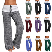 2020 New Loose Leggings Women Wide Leg Yoga Pants Lace Up Fitness Plus Size Trousers High Waist Female Patchwork Boot Cut Pants