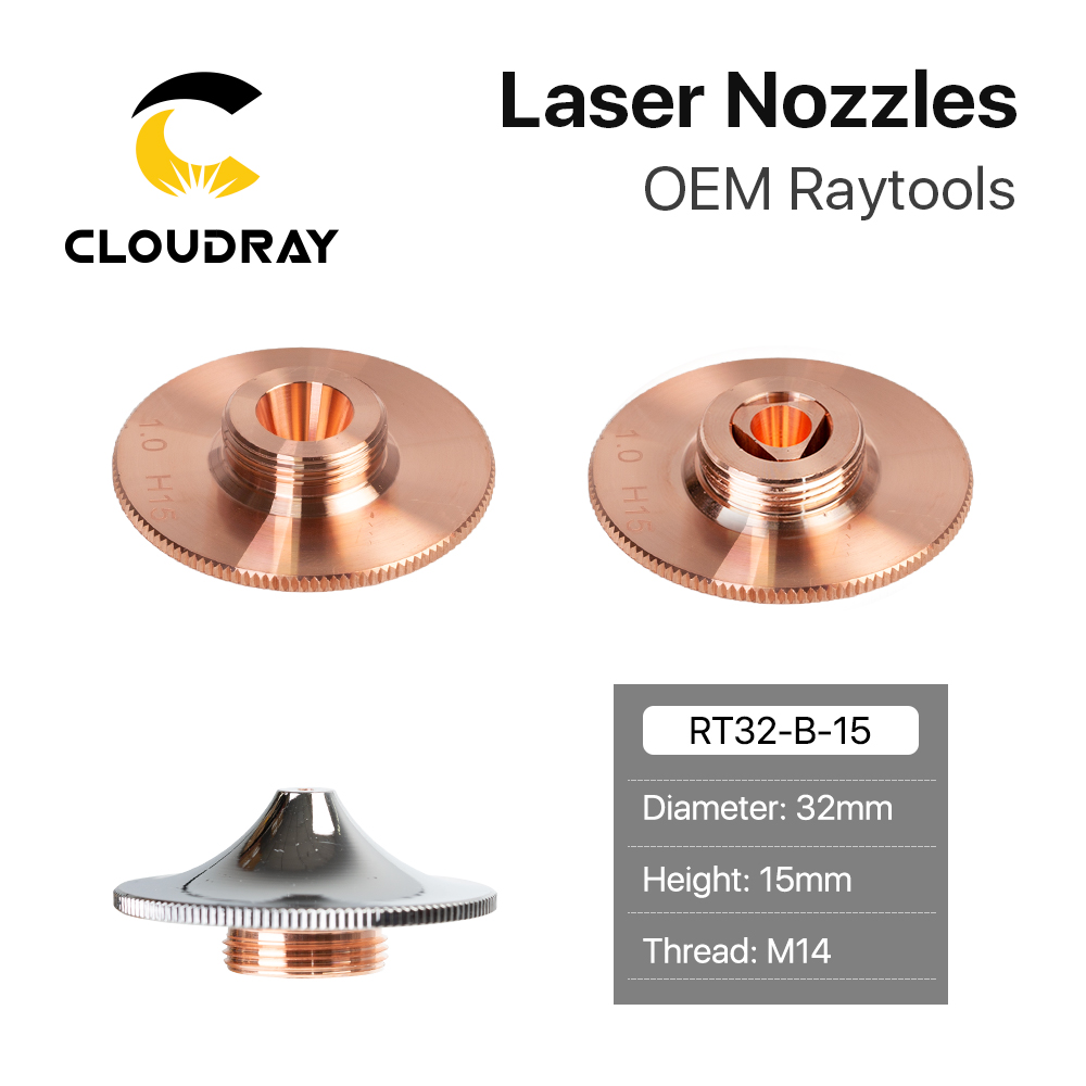 Cloudray Raytools Type F Laser Cutting Nozzle Dia.32 H15 Caliber 0.8-4.0mm Single Layer Chrome Plated Double Layers