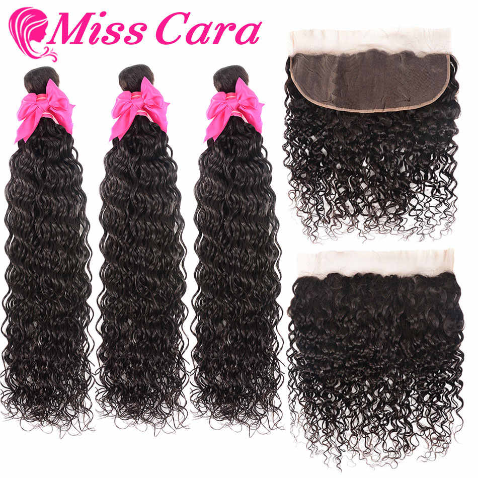 Brazilian Water Wave Bundles With Frontal 3/4 Bundles With Frontal 100% Human Hair Bundles With Closure Miss Cara Remy Hair