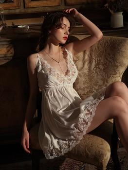 Lace Mesh Back Stain Deep V -neck Elegant Nighty Clothes Nighty cb5feb1b7314637725a2e7: White