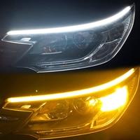 Tira de luz led ultra fina para coche, luces diurnas DRL, intermitente, blanco, rojo, amarillo, resistente al agua, 30 45 60cm, tubo flexible y suave, 2 uds.