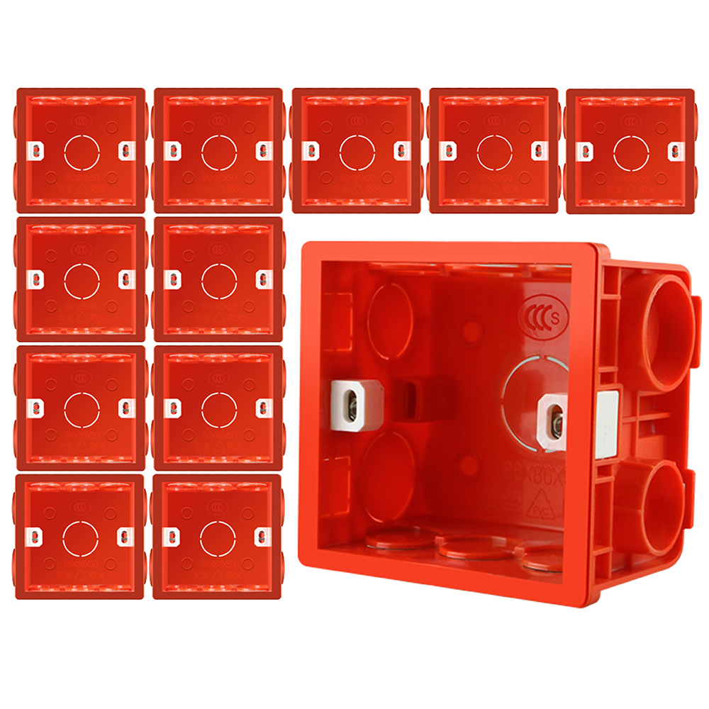 Adjustable 86 Switch Socket Box,Mount Back Box Plasterboad 50mm Depth Wall Switch Wall Socket Mounting Cassette BOX,Red