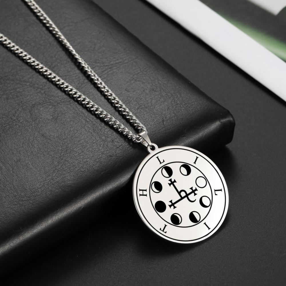 LIKGREAT Wicca Lilith Seal Night and Moon Necklace Men Women Demon Goddess Pendant Kabbalah Amulet Stainless Steel Jewelry