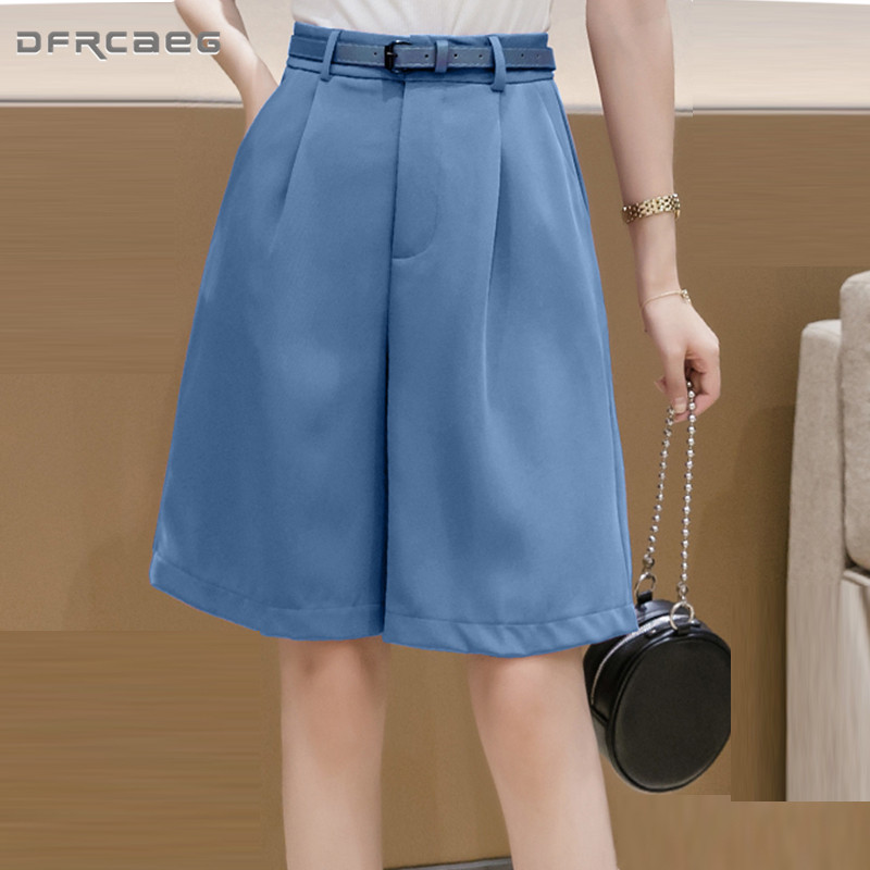 White Knee Length Summer Bermuda Shorts Womens 2020 High Waisted Loose Capris Short Suit Trousers Casual Shorts With Belt