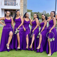 African Bridesmaid Dresses Spaghetti Straps A line Dark Purple Long Wedding Party Dress Front Split Maid Of Honor Dress Cheapest