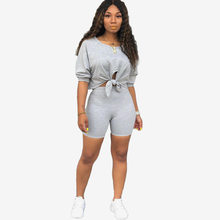 Women's Navel Tie Bowknot Short Sleeves Top + Shorts Two-piece Suit Woman Wear Summer Outfits Clothing Tracksuit Leisure Sets(China)