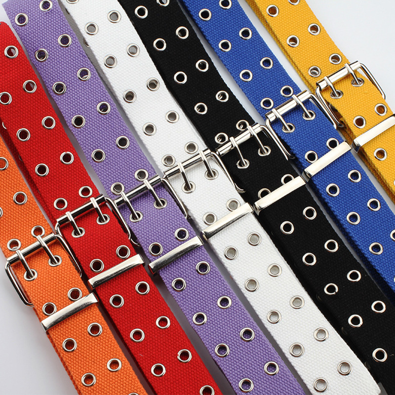 Canvas Belt D Ring Double Buckle Neutral Street Beat Double Row Hole Canvas Belt Lengthen Unisex Hollow Jeans Belt Hanging Chain