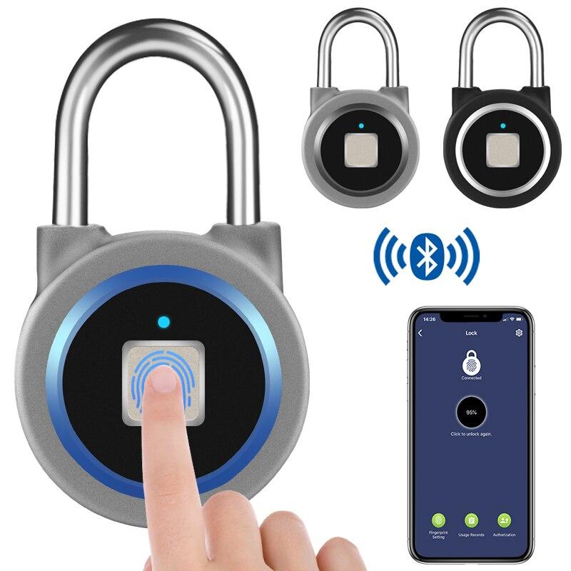 Portable Bluetooth Smart Keyless Fingerprint Lock Waterproof APP / Fingerprint Unlock Anti-Theft Security Padlock Door