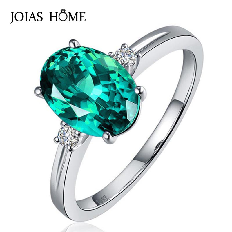 JoiasHome classic Sapphire Silver 925 Ring with oval green/pink/blue gemstone adjust size luxury silver jewelry gift for woman