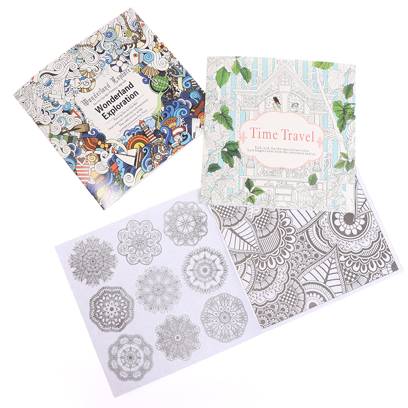 24 Pages Beautiful Mandala Flower Coloring Book Painting Graffiti Book Children Girls Art Drawing Relieve Stress Leisure Book