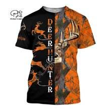 Мужская женская Охотничья футболка с рисунком оленя охотник