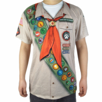 Funny Boy Scout Halloween Costume for Adult Men Cute Male Boys Scount Costume Halloween Outfits Short Sleeve T Shirt Plus Size