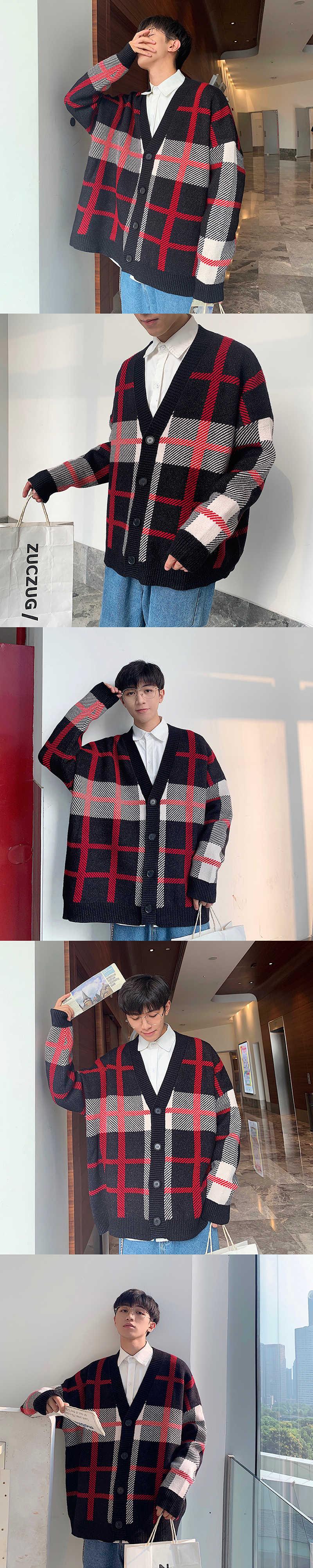 Зимний мужской кардиган, теплый модный ретро повседневный вязаный клетчатый свитер, Мужская Уличная одежда, свободный свитер, пальто, мужская одежда