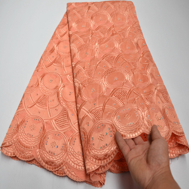 Dentelle de mariage avec pierres 5 Yards 100% coton | Livraison gratuite, tissu africain dentelle de haute qualité, style africain, Swiss Voile, 3 000