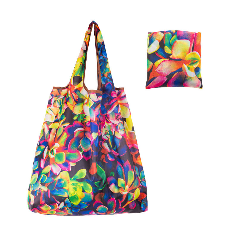 Oxford Foldable Recycle Shopping BagEco Friendly Ladies Reusable Shopping Tote Bag Floral Fruit Vegetable Grocery Pocket