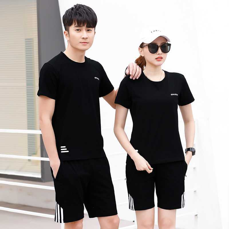 Summer New Style Men And Women Couples Leisure Sports Suit 95 Pure Cotton Short Sleeve Shorts Running Fitness Sports Clothing St
