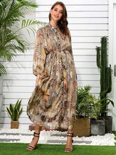 VKBN Summer Dress 2021 Chiffon Printing Dresses for Women Casual Sashes Long Sleeve Party Elegant Vestidos De Fiesta