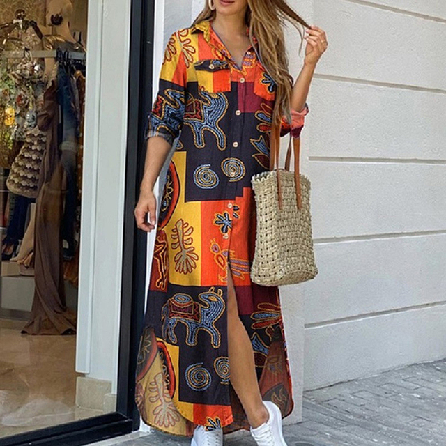 Maxi Beach Dress Elegant Women Button Long Shirt Dress Summer Split Print Lapel Neck Party Dress Long Sleeve Checked Plaid Robe 3
