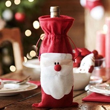 METABLE 50 PCS Red Wine Bottle Cover Bags Christmas Dinner Table Decoration Home Party Decors Santa Claus Supplier