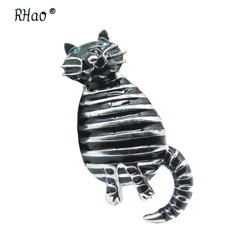 RHao Cute Black Enamel Cat Brooches for Women Gils Dress Cardigan Jewelry buckles Green Eyes Fat Cat Brooch pins hijab pins gift