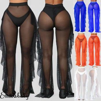 Pantalones Con Volantes Transparentes Para Mujer Traje De Bano Sexy De Malla Transparente Para Playa Y Piscina A Anvas Info