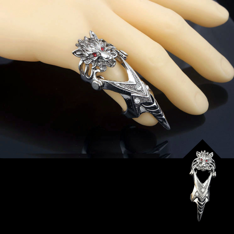 Old Silver Fox Finger Ring Punk Men's Ring Self-Defense Ring Tools Outdoor EDC Safety Tools
