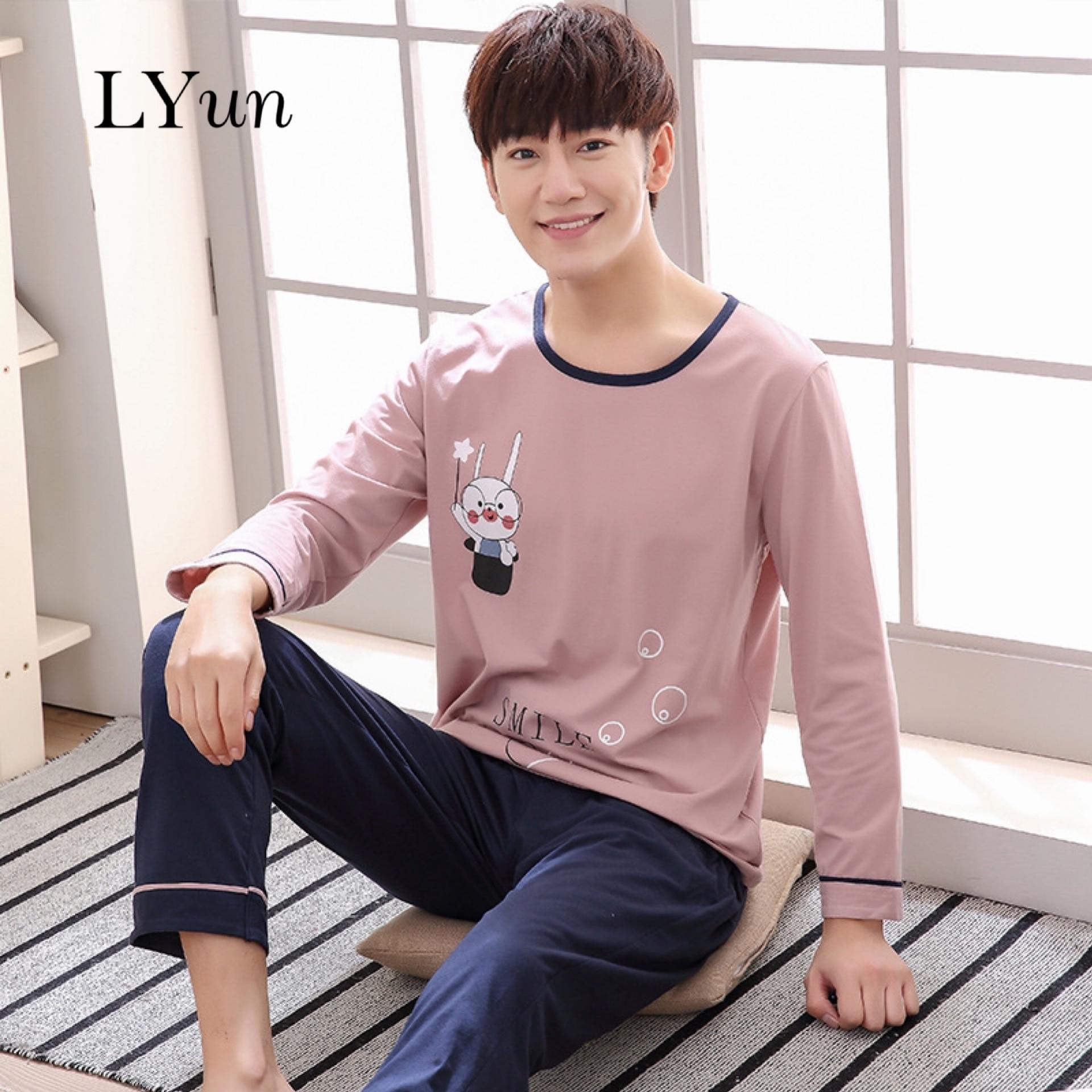 LYunCotton Pajamas Men's Plus Size Home Service Men's Home Service Spring And Autumn Long-sleeved Cotton Autumn Men's Suit Youth