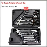 12 pçs de alta qualidade 72 dentes cabeça ajustável conjunto chave catraca  dupla finalidade chave catraca conjunto ferramenta reparo do automóvel|Peças de ferramentas| |  -