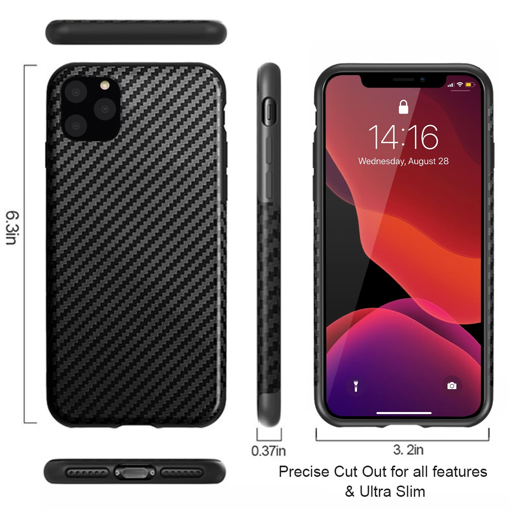 Carbon Fiber Texture Shockproof Case for Apple iPhone 12 Pro
