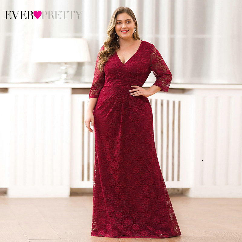 Plus Size Lace Mermaid Long Prom Dresses 2020 Ever Pretty EZ07682NB V-Neck 3/4 Sleeve Elegant Women Party Gowns Vestidos De Gala